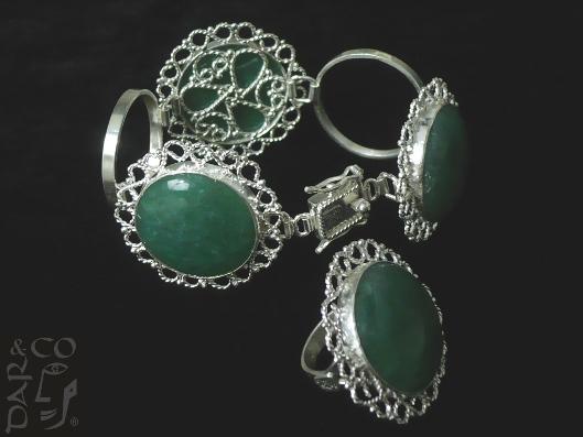 Juego plata 925 (anillo y pulsera) filigrana y ágatas