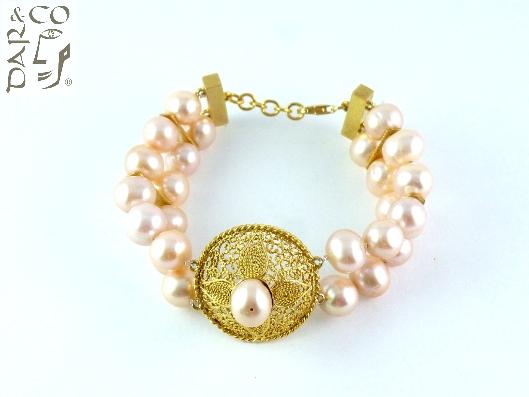 Juego filigrana oro 10kt y perlas cultivadas